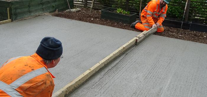 lay concrete slab for garden office